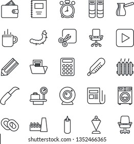 Thin Line Icon Set - hot cup vector, alarm clock, luggage scales, book, pennant, pencil, garden knife, caterpillar, thermometer, news, chain, play button, cut, copybook, document folder, calculator