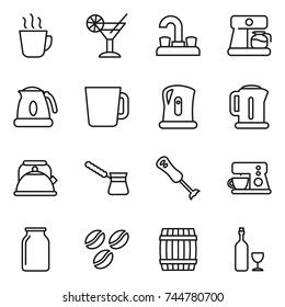 thin line icon set : hot drink, cocktail, water tap, coffee maker, kettle, cup, turk, blender, bank, seeds, barrel, wine