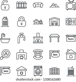 Thin Line Icon Set - house vector, with tree, water supply, mountains, garage, fence, sale, rent, rooms, client search, lock, children room, table, bathroom, washer, cushioned furniture, fireplace