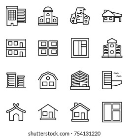 thin line icon set : houses, mansion, modern architecture, house with garage, modular, panel, window, building, district, office, hotel, bungalow, home