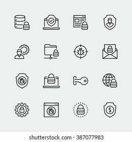 Thin line icon set. Icons for web, data, personal and other protection and security