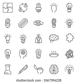 thin line icon set - idea vector, super manager, pen, employ exchange, bulb, brain, gear head, hot dog, neural network, puzzle, chess rock, heart