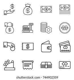 thin line icon set : investment, money bag, gift, cashbox, virtual mining, crypto currency, hand coin, receipt, wallet, credit card, atm