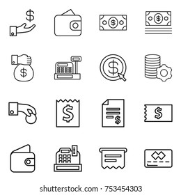 thin line icon set : investment, wallet, money, gift, cashbox, dollar arrow, virtual mining, hand coin, receipt, account balance, atm, credit card