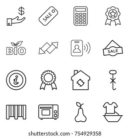 thin line icon set : investment, sale, calculator, medal, bio, up down arrow, pass card, info, smart house, do not hook sign, bar code, grill oven, pear, handle washing