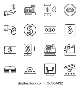 Thin line icon set : investment, cashbox, phone pay, crypto currency, hand coin, dollar, money, receipt, mobile, credit card, atm