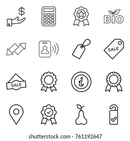 Thin line icon set : investment, calculator, medal, bio, up down arrow, pass card, label, sale, info, geo pin, pear, please clean