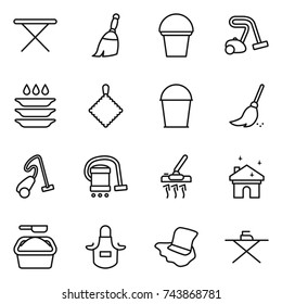 thin line icon set : iron board, broom, bucket, vacuum cleaner, plate washing, rag, house cleaning, powder, apron, floor