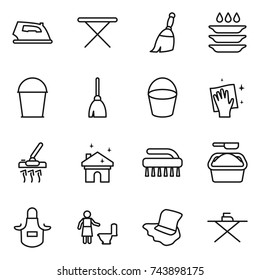 thin line icon set : iron, board, broom, plate washing, bucket, wiping, vacuum cleaner, house cleaning, brush, powder, apron, toilet, floor