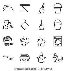 thin line icon set : iron, board, broom, bucket, vacuum cleaner, rag, wiping, house cleaning, washing machine, brush, apron, toilet