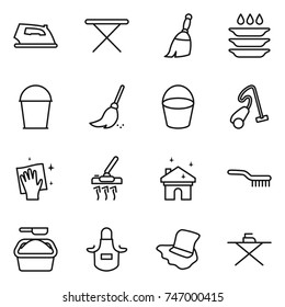 thin line icon set : iron, board, broom, plate washing, bucket, vacuum cleaner, wiping, house cleaning, brush, powder, apron, floor
