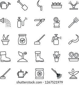 Thin Line Icon Set - job vector, flower in pot, farm fork, rake, seedling, watering can, sproute, pruner, boot, hoe, sickle, garden sprayer, fertilizer, irrigation