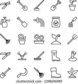 Thin Line Icon Set - job vector, flower in pot, garden fork, shovel, farm, rake, seedling, watering, sproute, pruner, boot, hoe, sickle, sprayer, fertilizer, irrigation
