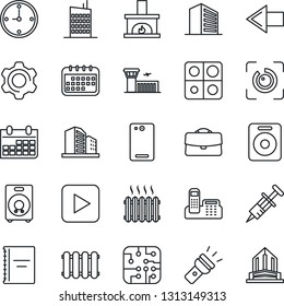 Thin Line Icon Set - left arrow vector, airport building, office, calendar, syringe, speaker, play button, phone back, settings, torch, eye id, application, case, copybook, clock, fireplace, heater