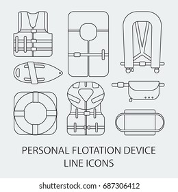 Thin line icon set - Life jackets types vector flat icons, big set of outline design different types of floatation devices isolated on the white background, vector illustration
