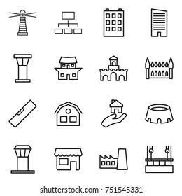 thin line icon set : lighthouse, hierarchy, building, skyscraper, airport tower, japanese house, fort, gothic architecture, level, real estate, stadium, shop, factory, skysrcapers cleaning