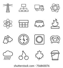 Thin line icon set : lighthouse, hierarchy, truck, atom, market, stadium, flammable, flippers, watch, ring button, pretzel, rain cloud, cherry, maple leaf, foam bucket