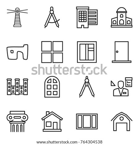 thin line icon set lighthouse draw stock vector royalty free