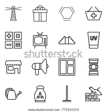 Thin line icon set : lighthouse, gift, hex molecule, add to basket, calculator, tv, pyramid, uv cream, shop, loudspeaker, window, pasta, watering can, ...