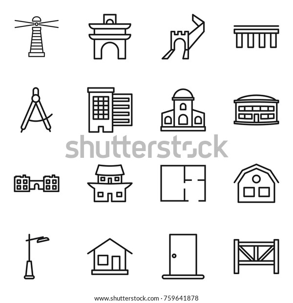 Thin Line Icon Set Lighthouse Arch Stock Vector (Royalty