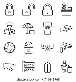 thin line icon set : lock, unlock, customs control, security man, insurance, uv cream, surveillance, lifebuoy, unlocked, camera, cook glove, watering, dry wash, garbage bin