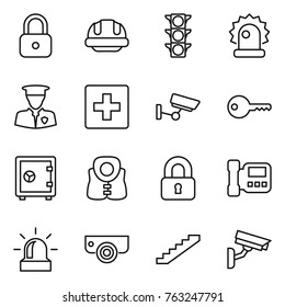 Thin line icon set : lock, building helmet, traffic light, alarm, security man, first aid, surveillance, key, safe, life vest, locked, intercome, camera, stairs