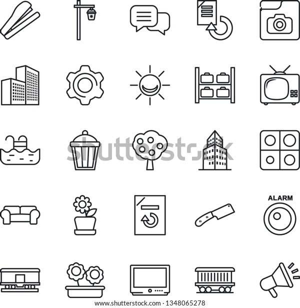 Thin Line Icon Set Luggage Storage Stock Vector (Royalty