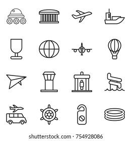 thin line icon set : lunar rover, airport building, plane, sea shipping, fragile, globe, air ballon, deltaplane, tower, detector, aquapark, transfer, handwheel, do not distrub, inflatable pool
