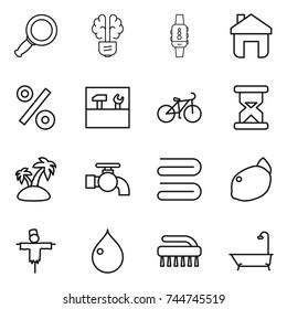 thin line icon set : magnifier, bulb brain, smart watch, home, percent, tools, bike, sand clock, island, water tap, towel, lemon, scarecrow, drop, brush, bath