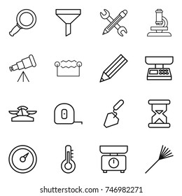 thin line icon set : magnifier, funnel, pencil wrench, microscope, telescope, electrostatic, market scales, measuring tape, construction, sand clock, barometer, thermometer, kitchen, rake