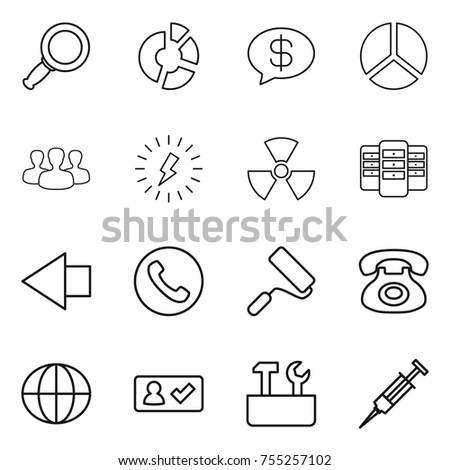 Thin Line Icon Set Magnifier Circle Stock Vector (Royalty