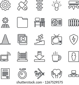 Thin Line Icon Set - male vector, wireless notebook, border cone, gear, desk, fence, heart hand, satellite, traffic light, protect, folder, download, photo gallery, abacus, contract, career ladder