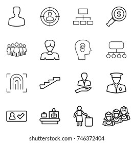 thin line icon set : man, target audience, hierarchy, dollar magnifier, team, woman, bulb head, structure, fingerprint, stairs, client, security, check in, baggage checking, garbage bin, outsource