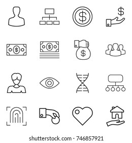 thin line icon set : man, hierarchy, dollar, investment, money, gift, group, woman, eye, dna, structure, fingerprint, hand coin, heart, housing
