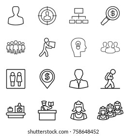 Thin line icon set : man, target audience, hierarchy, dollar magnifier, team, courier, bulb head, group, wc, pin, client, tourist, baggage checking, inspector, cleaner, outsource
