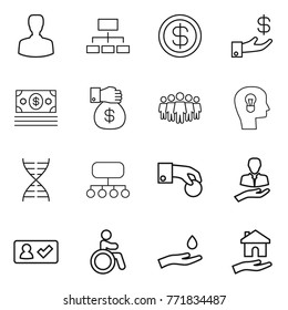 Thin line icon set : man, hierarchy, dollar, investment, money, gift, team, bulb head, dna, structure, hand coin, client, check in, invalid, and drop, housing