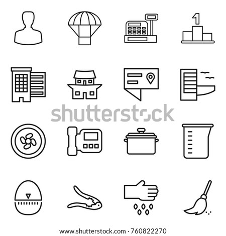 Thin Line Icon Set Man Parachute Stock Vector (Royalty Free