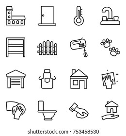 thin line icon set : mansion, door, thermometer, water tap, rack, fence, mixer, pets, garage, apron, house, wiping, toilet, housing