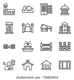 Thin line icon set : mansion, project, houses, goverment house, building, minaret, with garage, school, fountain, gothic architecture, palace, architector, bungalow, home, window