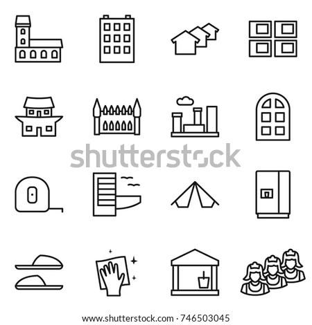 Thin Line Icon Set Mansion Building Stock Vector (Royalty Free