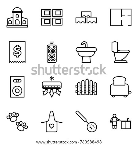 Thin Line Icon Set Mansion Panel Stock Vector (Royalty Free