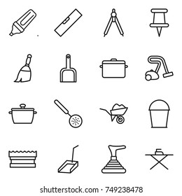 thin line icon set : marker, level, drawing compasses, pin, broom, scoop, pan, vacuum cleaner, skimmer, wheelbarrow, bucket, sponge, plunger, iron board