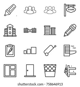 Thin line icon set : marker, group, store signboard, building, school, district, pencil, clipboard pen, sorting, suitcase, hotel, window, door, trash bin, skyscrapers cleaning