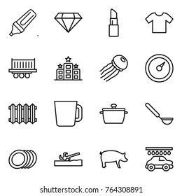 Thin line icon set : marker, diamond, lipstick, t shirt, truck shipping, hotel, jellyfish, barometer, radiator, cup, pan, ladle, plates, soil cutter, pig, car wash