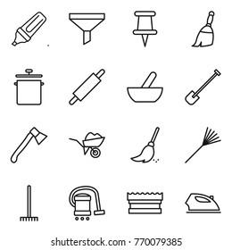 Thin line icon set : marker, funnel, pin, broom, pan, rolling, mortar, shovel, axe, wheelbarrow, rake, vacuum cleaner, sponge, iron