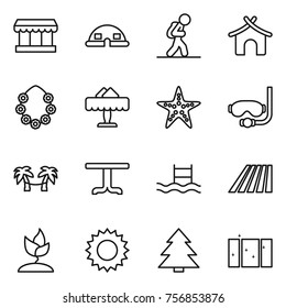 Thin line icon set : market, dome house, tourist, bungalow, hawaiian wreath, restaurant, starfish, diving mask, palm hammock, table, pool, field, sprouting, sun, spruce, clean window
