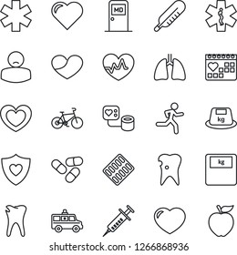 Thin Line Icon Set - medical room vector, heart, pulse, syringe, blood pressure, thermometer, scales, pills, blister, ambulance star, car, bike, run, shield, lungs, caries, calendar, patient, heavy