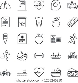 Thin Line Icon Set - medical room vector, plant label, seeds, heart pulse, diagnosis, patch, ambulance car, barbell, bike, run, lungs, tooth, diet, hospital, pool, salad, bread, omelette, cheese