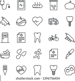 Thin Line Icon Set - medical room vector, plant label, pumpkin, seeds, heart pulse, diagnosis, stethoscope, dropper, ambulance car, bike, run, tooth, implant, clipboard, diet, salad, bread, omelette