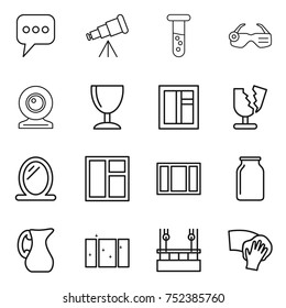thin line icon set : message, telescope, vial, smart glasses, web cam, wineglass, window, broken, mirror, bank, jug, clean, skysrcapers cleaning, wiping